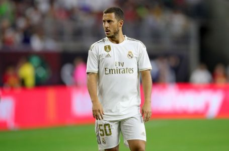 HOUSTON, TEXAS – JULY 20: Eden Hazard of Real looks during the International Champions Cup match between Bayern Muenchen and Real Madrid in the 2019 International Champions Cup at NRG Stadium on July 20, 2019 in Houston, Texas.  (Photo by Alexander Hassenstein/Bongarts/Getty Images)
